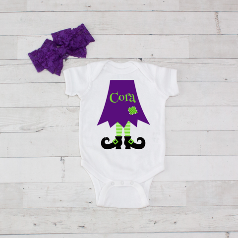 Purple with Lime Witch Legs - 2pc Personalized Witch Legs Bodysuit and Bow