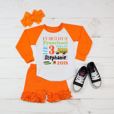 My First Day of Preschool Personalized 3pc Raglan and Short Set Orange