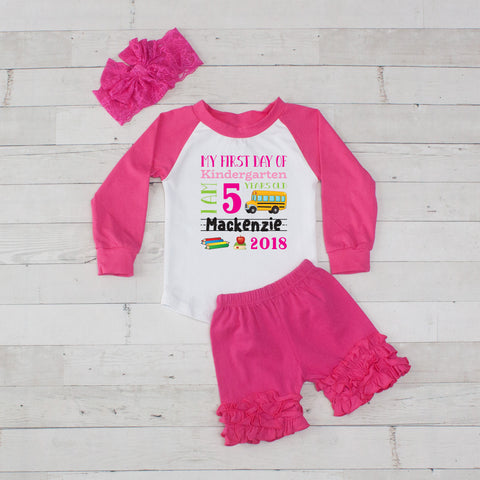My First Day of Kindergarten Personalized 3pc Raglan and Short Set Hot Pink