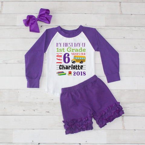 My First Day of 1st Grade Personalized 3pc Raglan and Short Set Purple