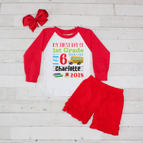 My First Day of 1st Grade Personalized 3pc Raglan and Short Set Red