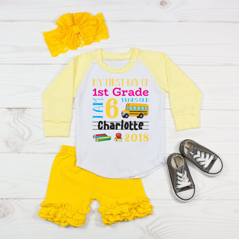 My First Day of 1st Grade Personalized 3pc Raglan and Short Set Yellow