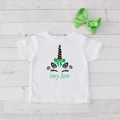 Happy Unicorn Personalized Graphic T-Shirt - Lime