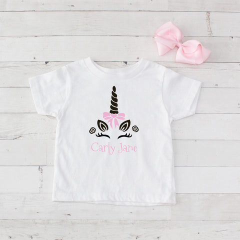 Happy Unicorn Personalized Graphic T-Shirt - Light Pink