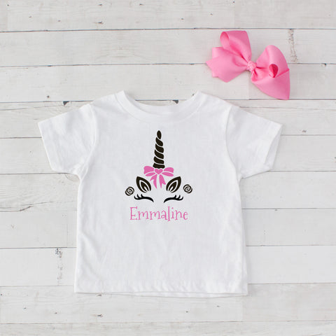 Happy Unicorn Personalized Graphic T-Shirt - Pink