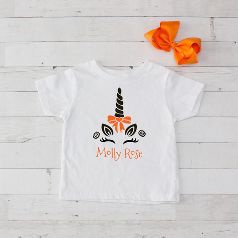 Happy Unicorn Personalized Graphic T-Shirt - Orange