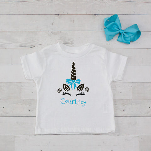 Happy Unicorn Personalized Graphic T-Shirt - Turquoise