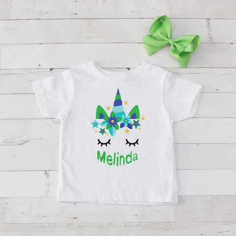 Sleeping Unicorn Personalized Graphic T-Shirt - Lime