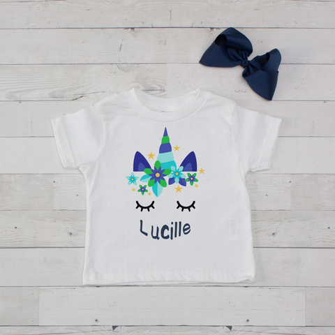 Sleeping Unicorn Personalized Graphic T-Shirt - Blue & Green