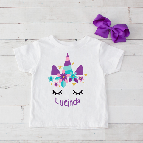 Sleeping Unicorn Personalized Graphic T-Shirt - Purple & Light Blue