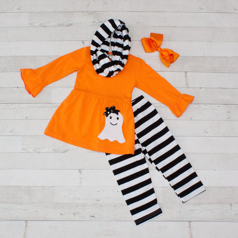 Orange & Black Ghost A-Line Tunic Set - Top, Pants & Scarf