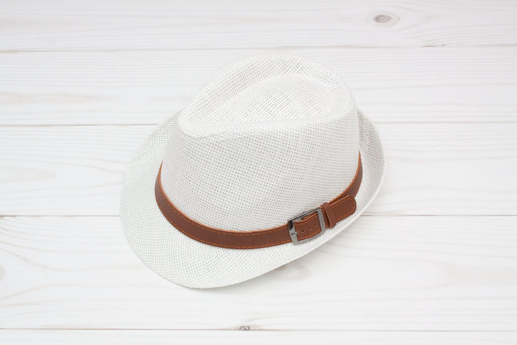 b04aeb1fcf021 Women s White Fedora with Brown Buckle Band – Wholesale Princess