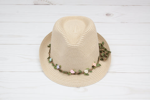 Women's Tan Fedora with Floral Vine Band