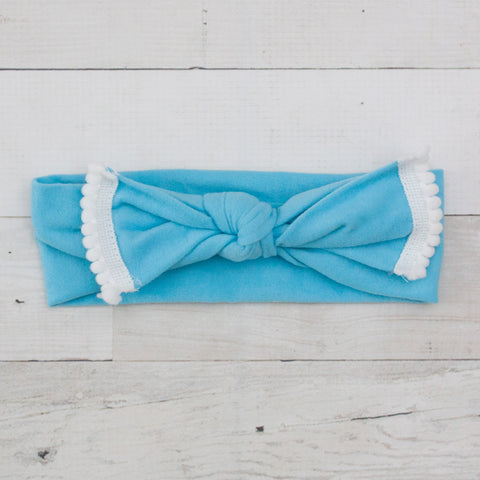 Soft Fabric Pom-Pom Bow Turban Headband