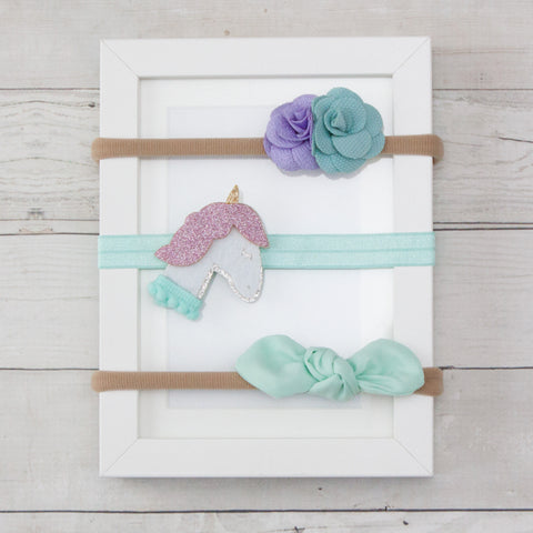 Unicorn Bow & Flowers on Soft Nylon Headband Assortment