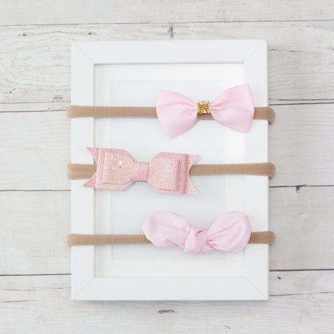 Pink Bows on Soft Nylon Headband Assortment