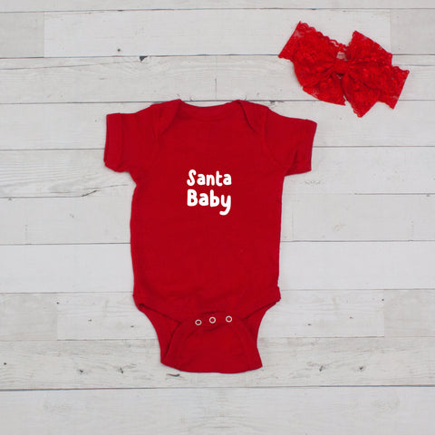 Santa Baby Red Bodysuit and Bow Headband