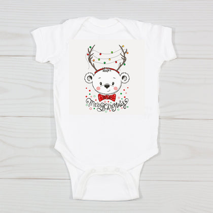 Merry Christmas Baby Deer in Lights Bodysuit