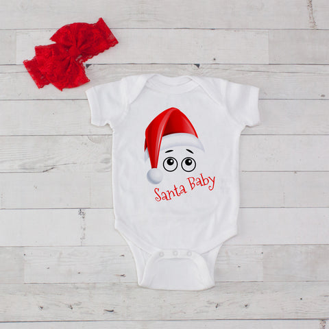 Santa Baby (Santa Hat) Bodysuit and Bow Headband