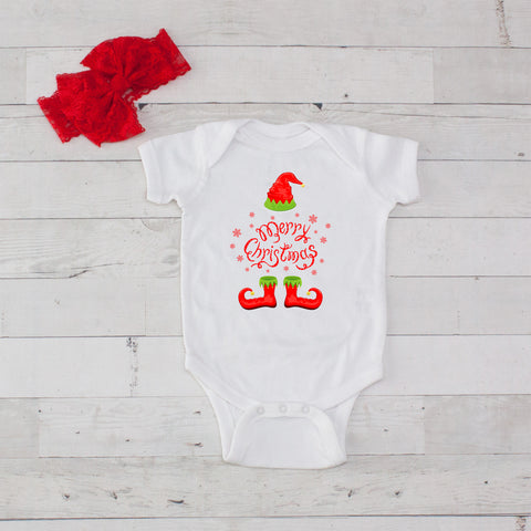 Merry Christmas (Elf) Bodysuit and Bow Headband