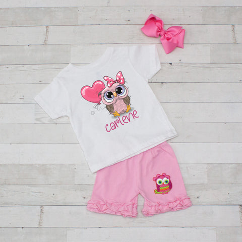 Carlene Owl Personalized 3pc Shirt and Short Set Pink
