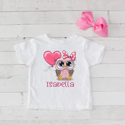 Pretty In Pink Baby Owl Personalized Graphic T-Shirt