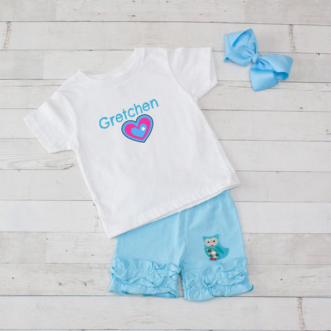 Heart Personalized 3pc Shirt and Short Set Light Blue