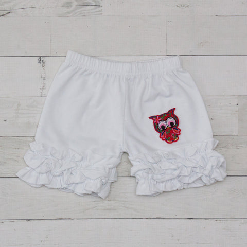 Red Tropical Owl White Ruffle Shorts