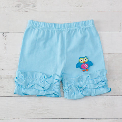 Blue Owl Light Blue Ruffle Shorts