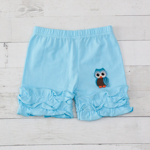 Brown & Blue Owl Light Blue Ruffle Shorts