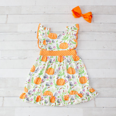 Girls White Pumpkin Print Sleeveless Dress