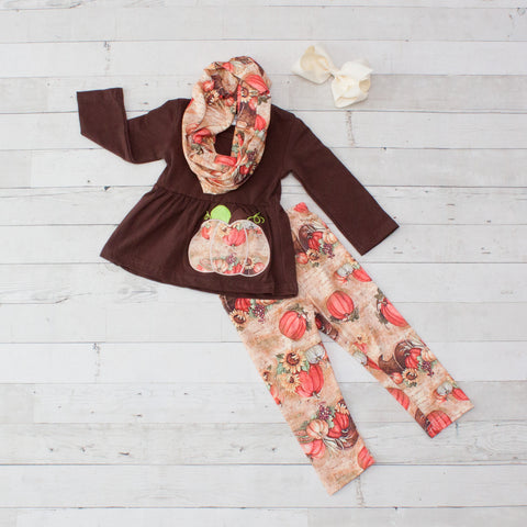Brown Old Fashion Pumpkin A-Line Tunic Set - Top, Pants & Scarf