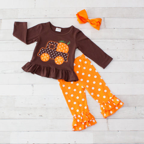 Brown & Orange Pumpkin Truck Long Sleeve Pant Set - Top & Pants