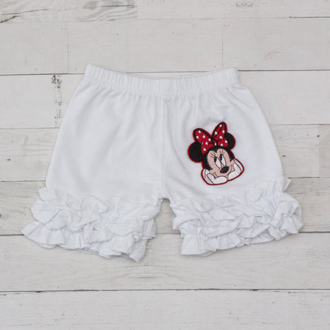 Minnie Mouse Face White Ruffle Shorts