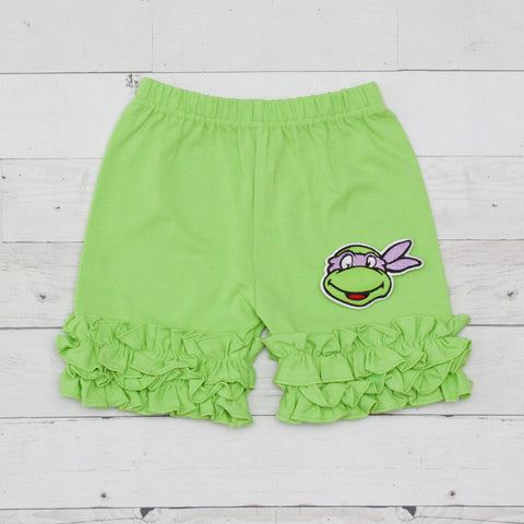 Donatello Ninja Turtle Lime Ruffle Shorts