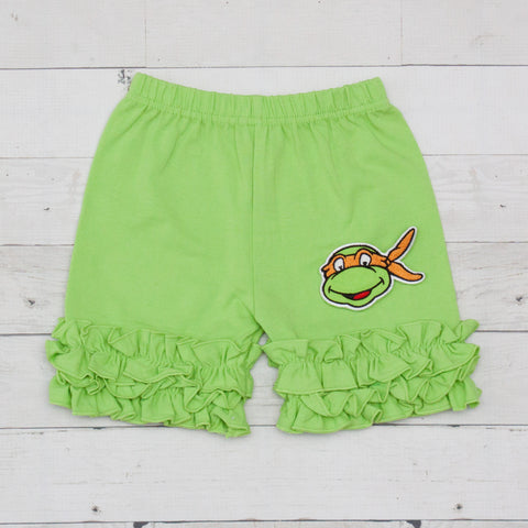 Michelangelo Ninja Turtle Lime Ruffle Shorts