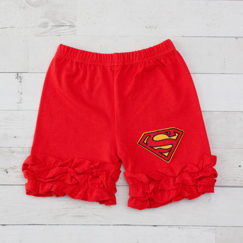 Superman Red Ruffle Shorts
