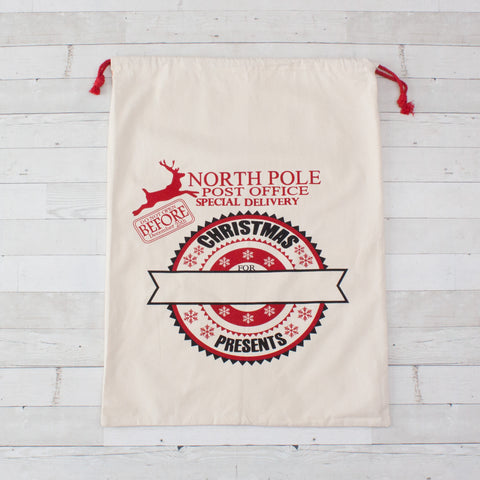 North Pole Large Canvas Christmas Bags