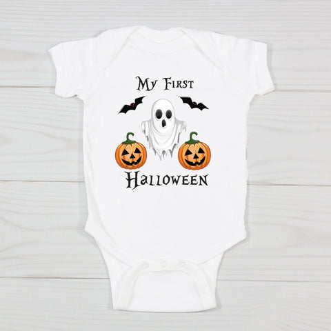 My First Halloween Little Ghost Personalized Onesie
