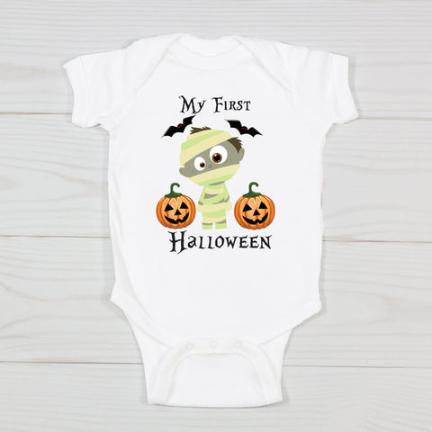 My First Halloween Little Mummy Personalized Onesie