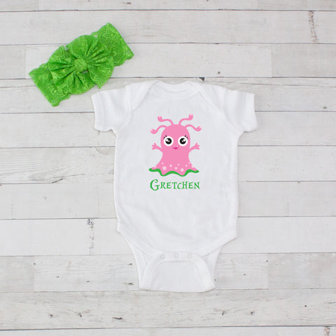 Pink Ghost - 2pc Personalized Bodysuit and Bow Headband