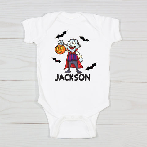 Trick or Treating Vampire Personalized Onesie