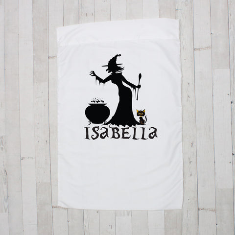Witch with Cat Personalized Pillowcase