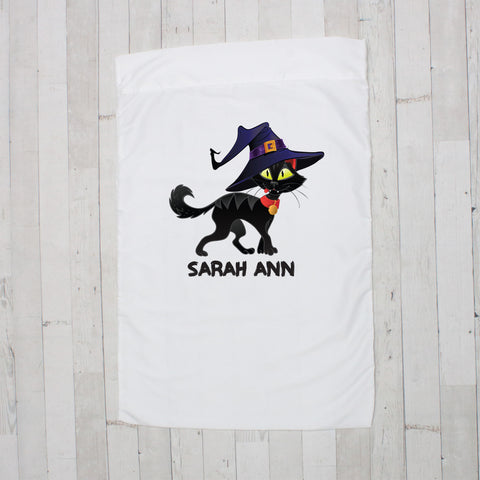 Cat Wearing Witch Hat Personalized Pillowcase