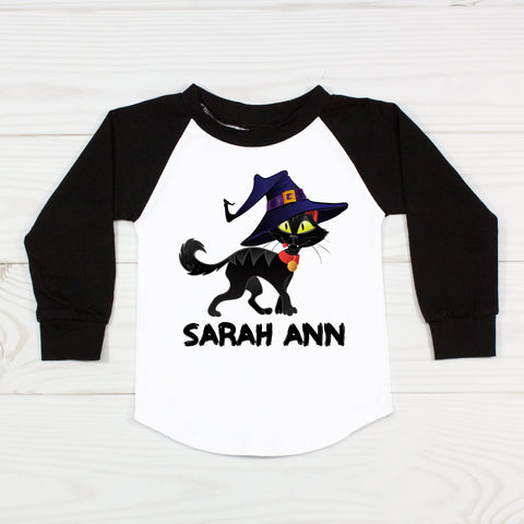 Black Cat with Witch Hat - Raglan T-Shirt
