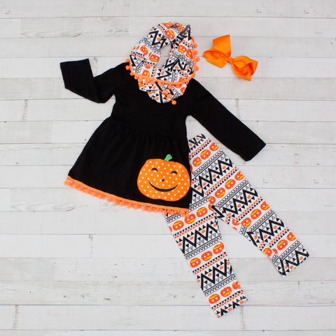Tribal Jack O Lantern - Orange & Black Pumpkin A-Line Tunic Set - Top, Pants & Scarf