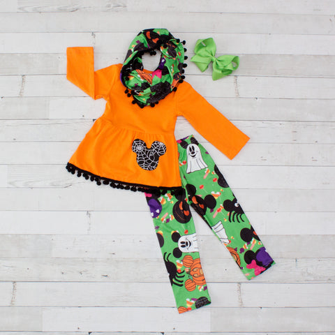 Orange & Green Mickey A-Line Tunic Set - Top, Pants & Scarf