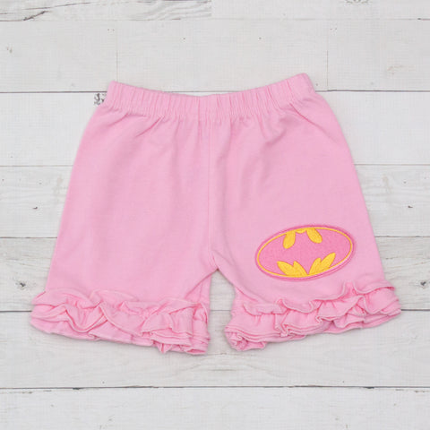Pink Batman on Pink Ruffle Shorts