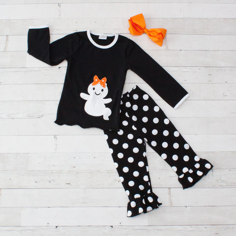 Black & White Ghost Long Sleeve Pant Set - Top & Pants