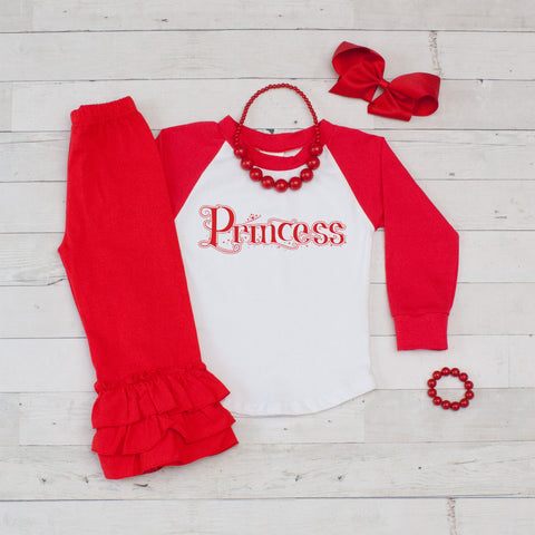 Little Princess 5pc Shirt and Ruffle Pants - Red